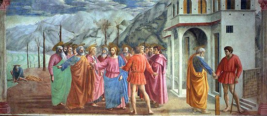 Masaccio's The Tribute Money: an example of one-point perspective.