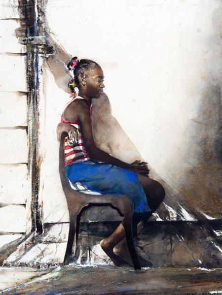 Claudia's Daughter by Stephen Scott Young, watercolor painting with pastel, 28 1/2 x 22.