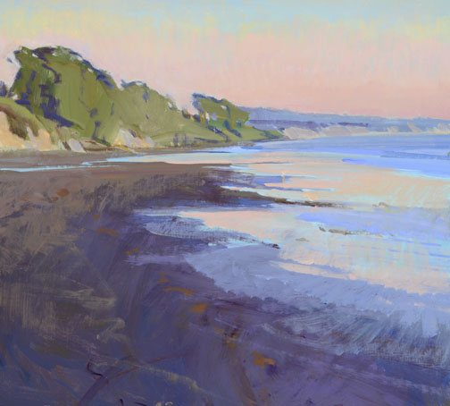 Marcia Burtt uses intense colors, as in Low Tide, Pink Sky, and mixes them to natural effects.