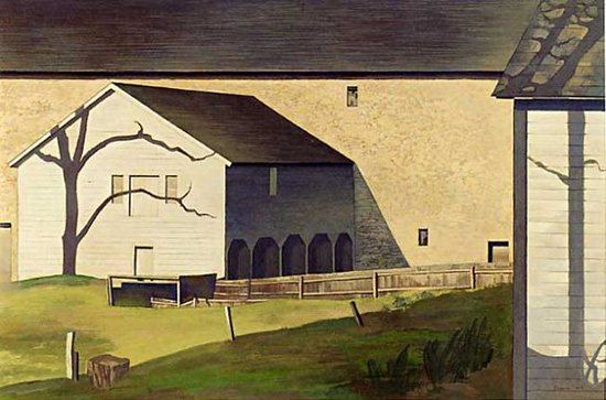 Shaker Barns by Charles Sheeler, 1945, tempera on board.
