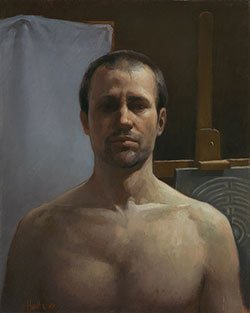 Self-Portrait by Hunter Eddy oil on linen, 19 3/4 x 15 3/4, 2010.