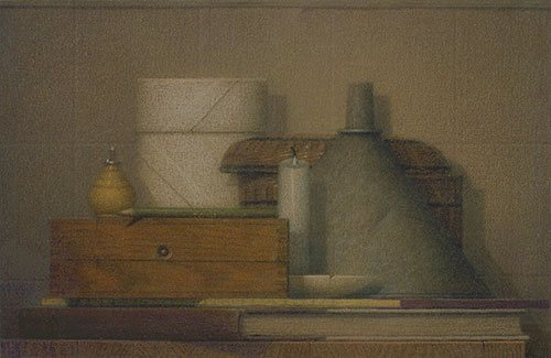Still Life With a Candle 2006, colored pencil and ink wash on canvas, 11 x 17. Collection Martin Roche.