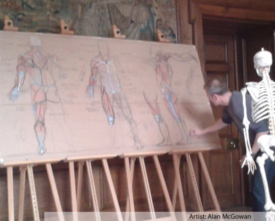 Artist Alan McGowan adding another layer of information on his diagrams created during his Anatomy for Artists workshop.