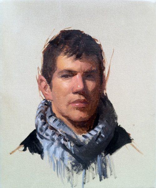 Portrait of Deiter by Kristin Künc, oil on linen, 10 x 12, 2011.