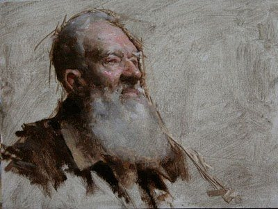 Portrait demo by Travis Schlaht, 6 x 8, oil on canvas, 2010.
