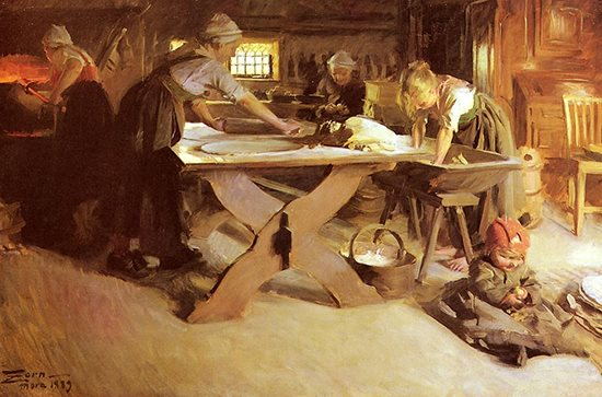 Baking the Bread by Anders Zorn, oil painting, 1889.