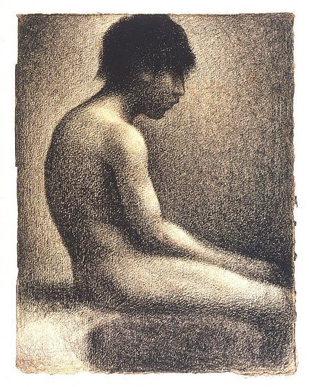 Seated Boy, Nude by Georges Seurat, 1883, conte crayon on paper, 12 1/2 x 9 3/4.