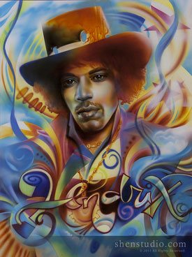 A portrait painting by Shen, titled Hendrix.