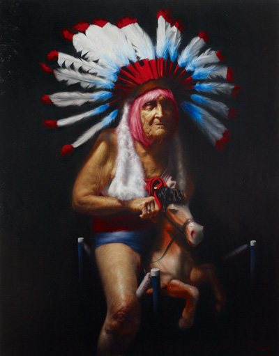 Horse Feathers by Jason Bard Yarmosky, oil on canvas, 64 x 50.