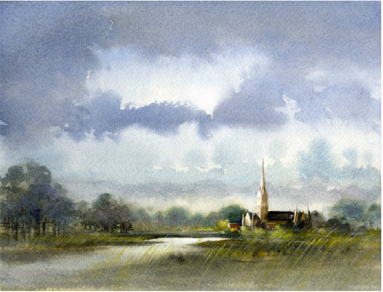 Watercolor artist Thomas Schaller achieves convincing and dynamic effects in his skies (Salisbury Cathedral, watercolor painting).