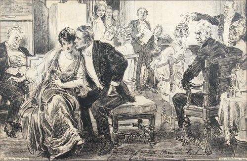 At the Recital by Charles Dana Gibson, pen and ink drawing on Bristol board. Image courtesy Museum of American Illustration at the Society of Illustrators, New York, New York.