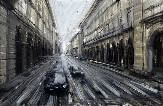 Via Roma by Valerio D'Ospina, 2011, oil on melamined MDF, 18 x 12.