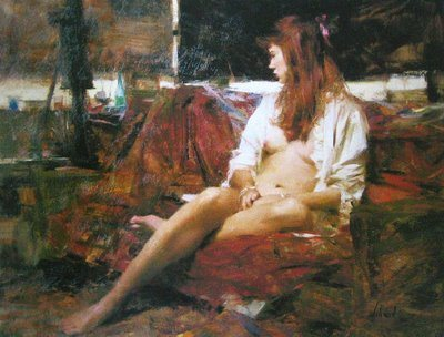 Richard Schmid oil painting of seating female nude, oil on canvas.