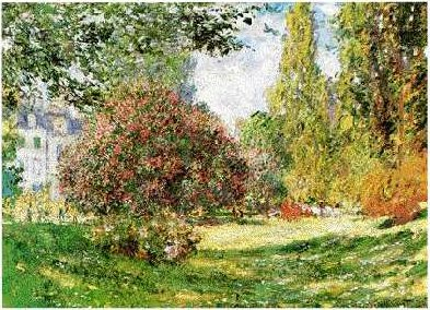 Le Parc Monseau by Claude Monet, oil painting, 1877.