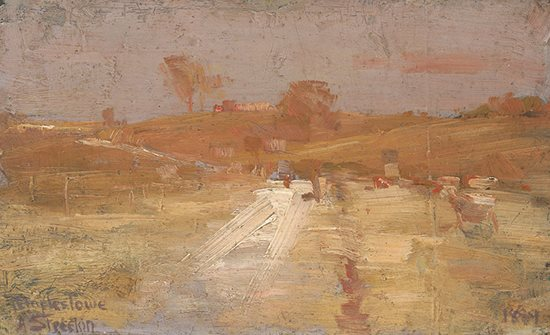 Pastoral in yellow and grey, a colour impression of Templestowe by Arthur Streeton, 1889, landscape painting.