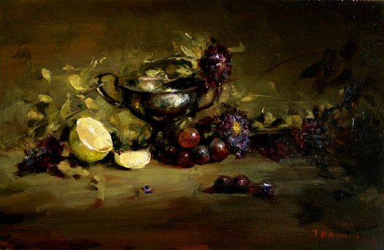 Lemons with Silver by Jacqueline Kamin, oil painting, 9 x 12.