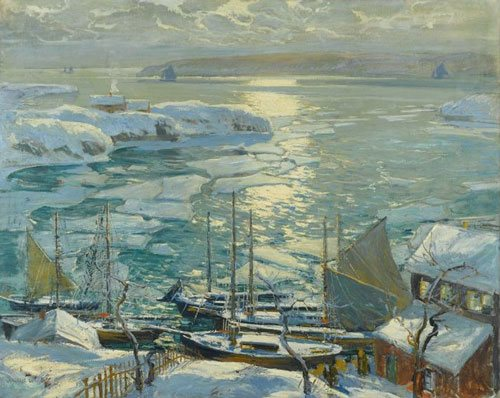 The Old Ships Draw to Home Again by Jonas Lie, c. 1920, oil on canvas.