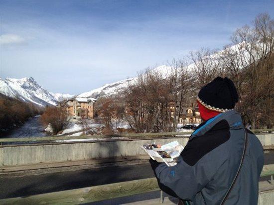Plein air painting in winter