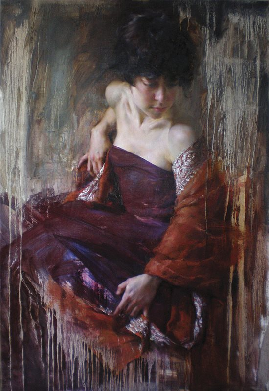 In the Rain by Mary Qian, oil painting.