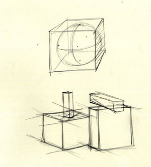 Another quick exercise is drawing a sphere in a cube or basic geometric forms stacked on top of each other.