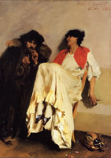 The Sulphur Match by Sargent, oil painting.