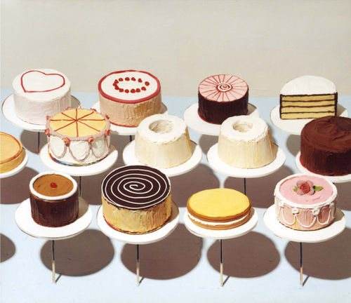Cakes by Wayne Thiebaud, oil painting.