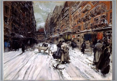 Cross Streets of New York by Everett Shinn, 1899, charcoal, watercolor, pastel, chalk on paper. Collection Corcoran Gallery of Art.