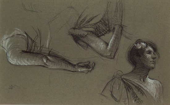 Three Studies of a Woman by Edward Hopper, ca. 1900-06, charcoal and white chalk on gray paper, 5-5/8 x 9 in. Collection of Mr. and Mrs. Bruce C. Loch.