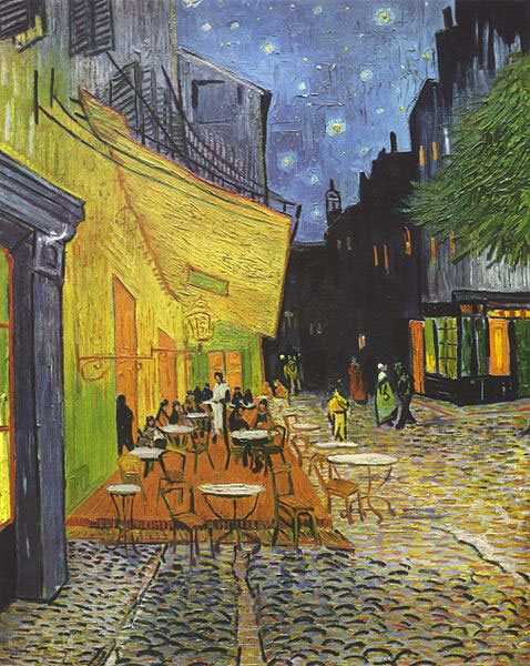 Cafe Terrace at Night by Vincent van Gogh, oil on canvas, 1888.