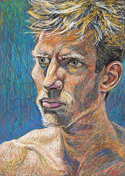 Andrew by Fred Hatt, drawing with aquarelle crayons, 35 x 25.