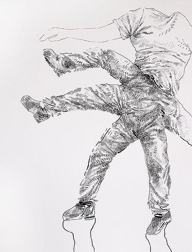 Get Up, Fall Down by Steven Ketchum, 2010, ink on paper, 24 x 18.