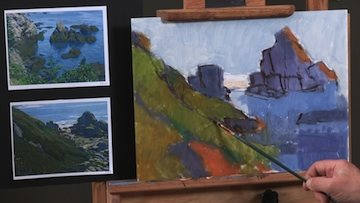 Michael shows you how to paint stroke by stroke, adjusting along the way.