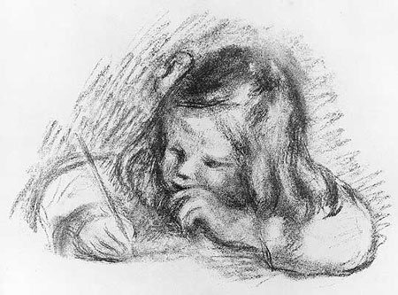 Claude Renoir Writing by Pierre Auguste Renoir, lithograph, 1902/3.