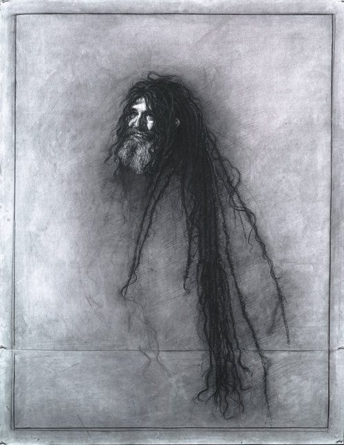 Matthew Carr refuses to use pure white in his drawings, treating his surface with charcoal before he begins. (Gordon, 2006, conté pencil on prepared charcoal paper, 56 1/2 x 44.)
