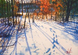 Plein Air Painting - Tracks I by John Hulsey, watercolor