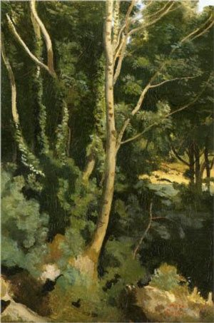 Landscape by Camille Corot, 1800s, oil painting.