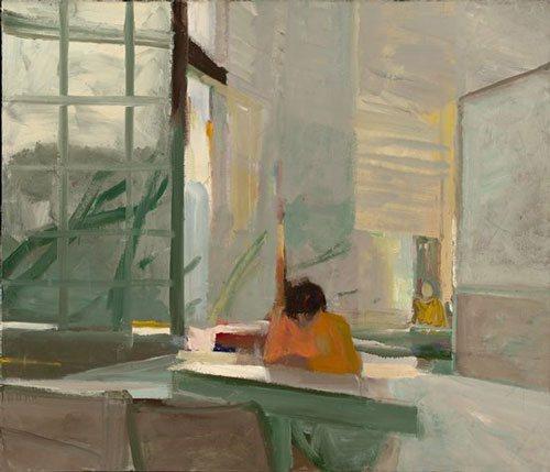 Orange Sweater by Elmer Bischoff, 1955, oil on canvas, 48 1/2 x 57.