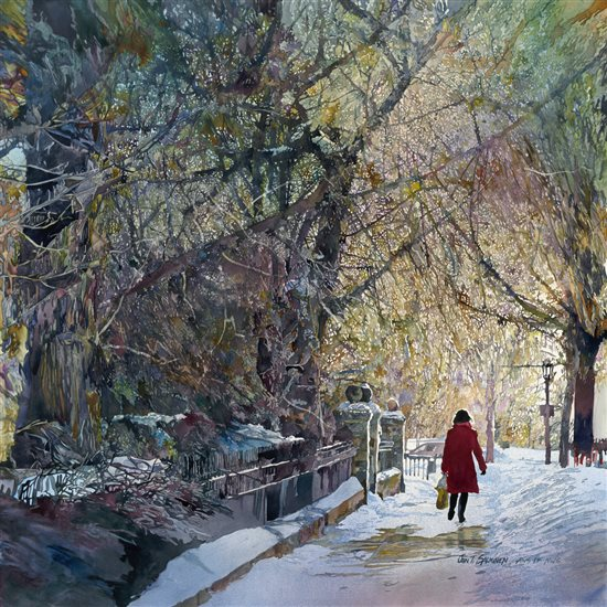 Summit Avenue by John Salminen, watercolor painting.
