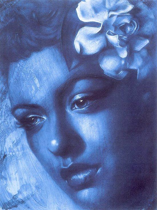 BlueBillie by Shen, acrylic on claybord, 18 x 24.