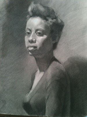Portrait drawing by Monica Bean, the final stage.