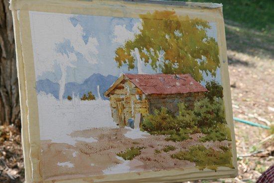 Landscape painting in progress by Joseph Bohler