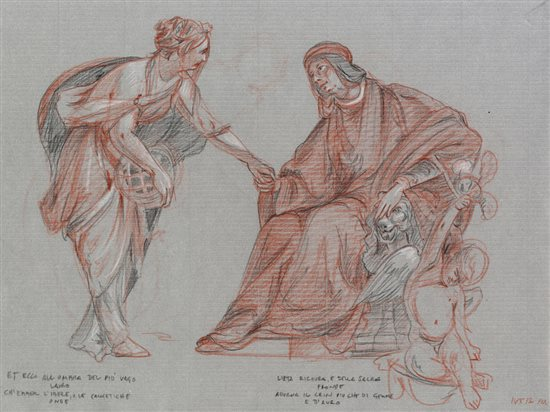 Lorenzo Welcomes the Muse Urania to Florence, drawing.