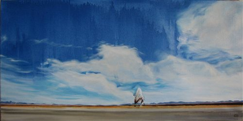 Very Large Array II by Kisu, oil painting, 18 x 36.
