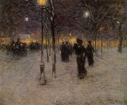 Early Evening, Union Square by Childe Hassam, oil painting, 1902.