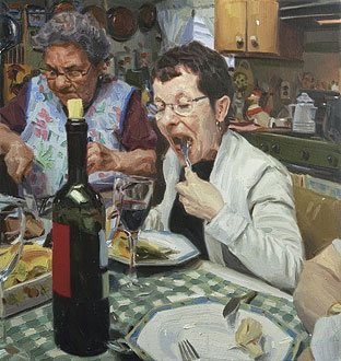 First Bite, 17 x 16, 2009, oil painting. All works by Michael de Brito.