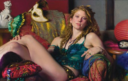 Nelson Shanks sees color and pushes it in ways that are powerful and seemingly natural as well. Above, Salome, oil painting, 28 x 44.