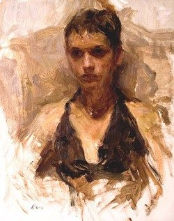 Noelle with a Black Dress by Ron Hicks, 2007, oil, 20 x 16. Collection Gallery 1261, Denver, Colorado.