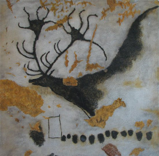 Cave painting of the Megaloceros at Lascaux.