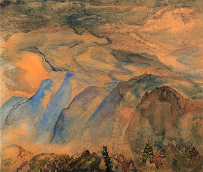 Landscape No. 1: Mountains, B.C. by F.H. Varley, oil painting, c. 1934.