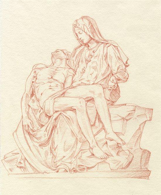 Sketch after Michelangelo's Pieta.